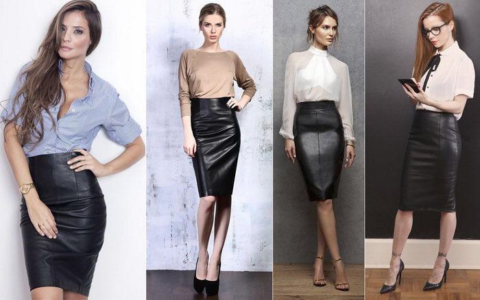 Прямая кожаная юбка. С чем можно носить