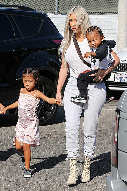 Kim Kardashian with her kids