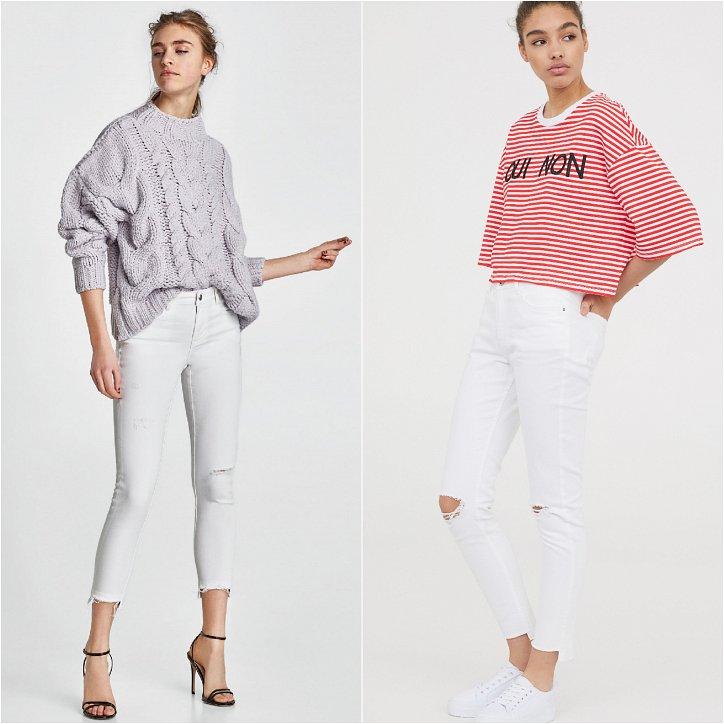 Белые джинсы с декором в виде дыр и прорех