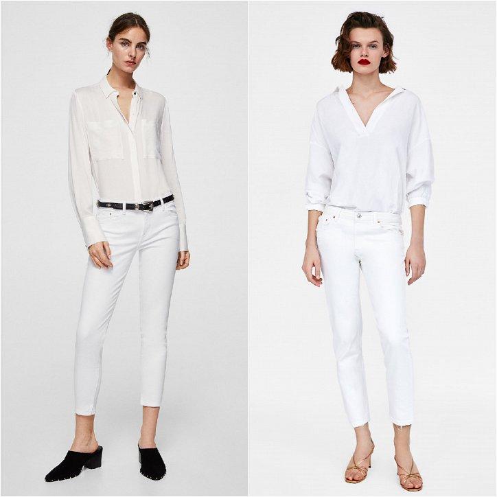 Белые укороченные джинсы