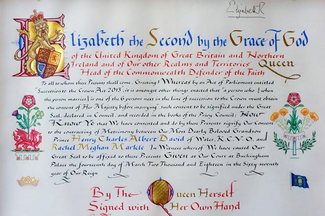 Королева официально задокументировала согласие на брак принца Гарри и Меган Маркл