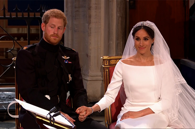 Принц Гарри и Меган Маркл во время свадебной церемонии